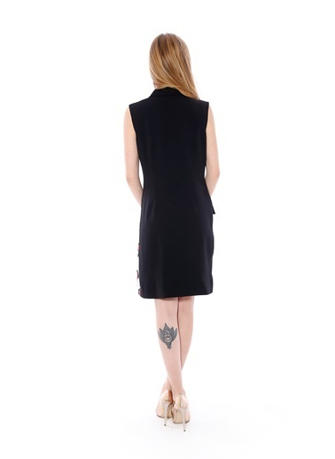 Soie Design Kolsuz Ceket Yaka Elbise Siyah